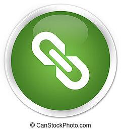 Link icon premium soft green round button