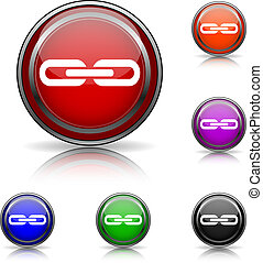 Link icon - Shiny glossy colored icons - six colors vector ...