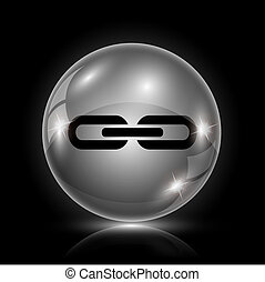 Link icon - Shiny glossy icon - glass ball on black...