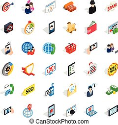 Link icons set, isometric style
