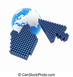 Link selection computer mouse cursor and Earth - Glodal internet concept on white background
