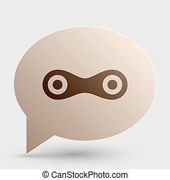 Link sign illustration. Brown gradient icon on bubble with shadow.