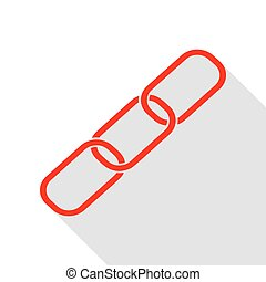 Link sign illustration. Red icon with flat style shadow path.