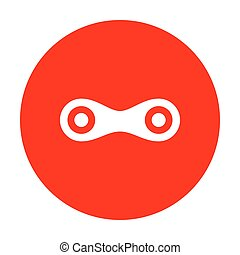 Link sign illustration. White icon on red circle.