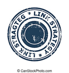 Link strategy concept stamp isolated on a white background.