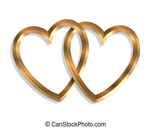 Linked Gold Hearts 3D - 3D illustration 2 golden hearts...