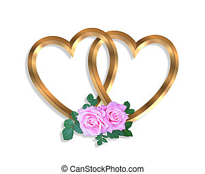 Linked Gold Hearts and roses 3D - 3D illustration 2 golden...