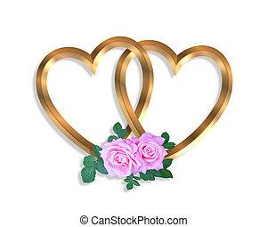 Linked Gold Hearts and roses 3D - 3D illustration 2 golden...