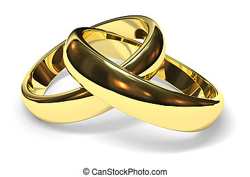 wedding rings - linked gold wedding rings on white...
