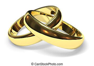 wedding rings - linked gold wedding rings on white...