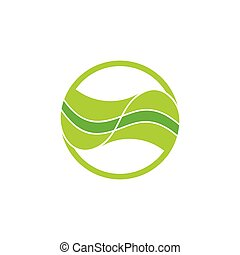 linked green leaf curves design logo vector