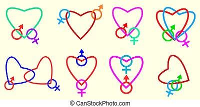 Linked hearts.
