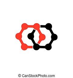 linked hexagonal dots simple logo vector