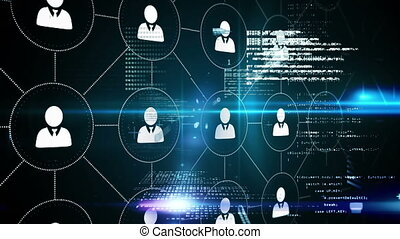 Linked profiles - Digital animation of profile icons linked ...