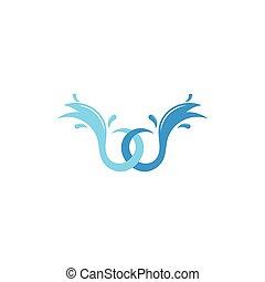 linked water waves splash logo vector