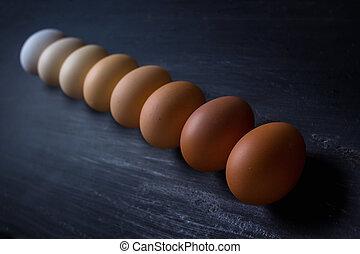 linkovaný, -, neobvyklý, closeup, deska, vejce, up, barvy, čerň