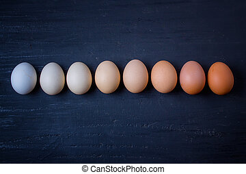 linkovaný, neobvyklý, deska, up, vejce, barvy, čerň
