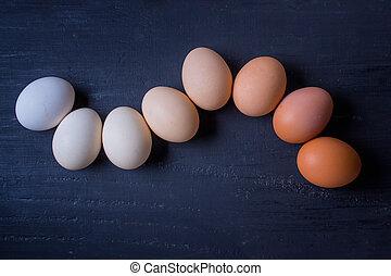 linkovaný, -, neobvyklý, hlava, vejce, up, degrade, barvy