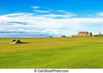 links., 古い橋, scotland., 18., st., コース, andrews, ゴルフ, 穴