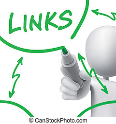 links concept drawn by a man over white background