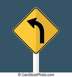 links, meldingsbord, gebogen weg, hemel, illustratie, verkeer, vrijstaand, vector, grijze , achtergrond.