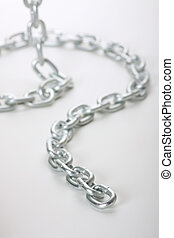 links of chain on a white background