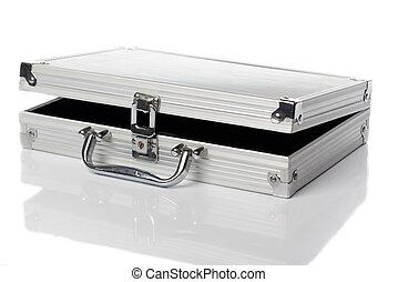 links, reisekoffer, angelehnt, silber