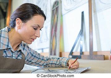 links, schetsen, overhandigde, kunstenaar