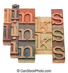 links word abstract in vintage wood letterpress prinintg...