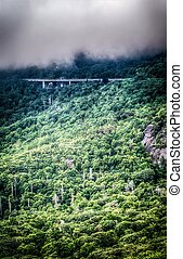 linn cove viaduct and curvy winding roads in mountains of NC
