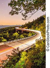 linn cove viaduct at night - Blue Ridge Parkway Linn Cove...