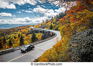 Linn Cove Viaduct carries the Blue Ridge Parkway around the...