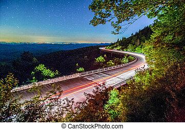 linn cove viaduct in blue ridge mountains at night