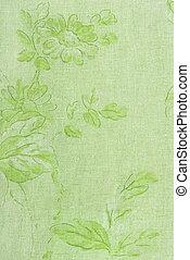 linne, grön, tyg, struktur