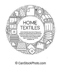 linnen, poster, thuis, embleem, lijn, of, textielproducten, ...