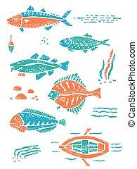 lino, 魚, スタイル, セット, 世間知らず