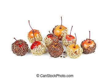 lino, coperto, caramello, isolato, fondo, mano, mele, granchio, sesamo, tuffato, semi, bianco