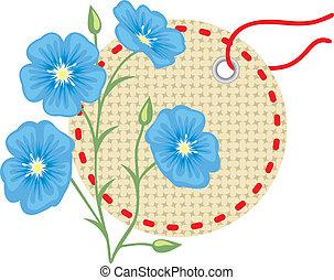 lino, flor, con, etiqueta