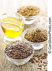 lino, semi, e, seme lino, olio