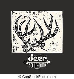 Linocut with a image of deer horns