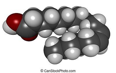Linoleic acid (LA) - 3D molecular structure of linoleic acid...
