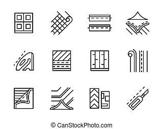 Linoleum black line vector icons set