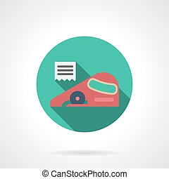 Linoleum cutting round flat vector icon