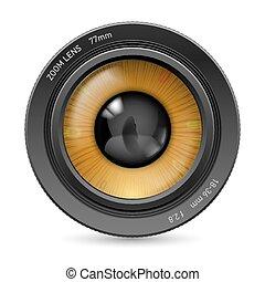 lins, kamera, ögon