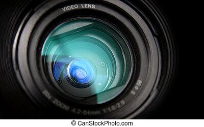 lins, närbild, kamera, video