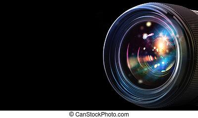 lins, professionell, kamera