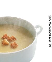 linse, creme suppe, mit, trocken, bred, krumen