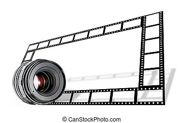 linse, streifen, umrandungen, film, &, weißes