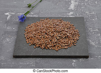Linseed and common flax on slate and concrete