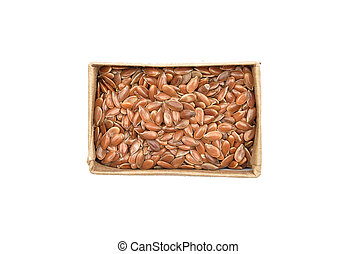 Linseed in carton on white background